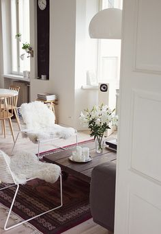 White lilies & sheepskin rugs in my living room / pic: www. My Living Room, Home And Living, Minimal Home, My Dream Home, Dream Homes, Humble Abode, Interior Inspiration, Design Inspiration, Interior And Exterior