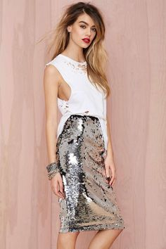24a346a463 distressed tee + sequin pencil skirt Sparkle Outfit