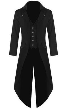 Mens Gothic Tailcoat Jacket Black Steampunk VTG Victorian Coat (M, Black)