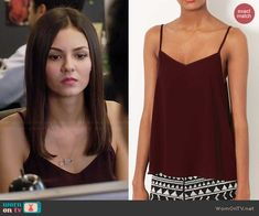 Lindy's burgundy cami on Eye Candy.  Outfit Details: http://wornontv.net/43637/ #EyeCandy
