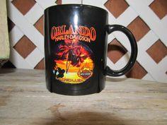 Vintage Harley Davidson Coffee Cup Mug Orlando Florida Black Stoneware Mug by EvenTheKitchenSinkOH on Etsy