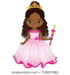 Illustration of Vector beautiful African American princess in pink dress with magic wand. Vector cute little African American girl. African American princess vector illustration vector art, clipart and stock vectors. Clipart Baby, African American Girl, African Girl, Digital Stamps Free, Felt Doll House, Baby Shower Pictures, Chocolate Babies, Strawberry Shortcake Doll, Cartoon Profile Pictures