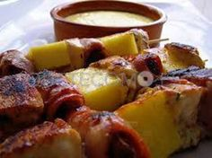 Brocheta de carnes, verdurtas y piña natural con arroz exótico | Restaurante tapería mesón cafetería Benfeito en Vigo