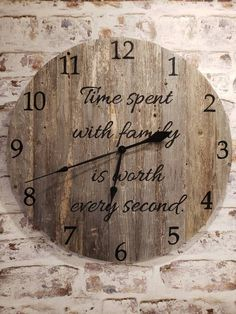 Farmhouse style barn board wood clock. Available at Denim n' Heels Etsy store today.