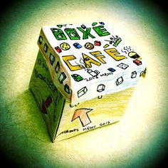 Boxé Cafe - this box opens up to a breakfast, lunch, dinner menu with healthy choices following the Canada Food Guide. Designed by Marcus - gr. 6