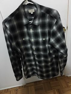 1201269cada Buy Club Monaco Gray/White/Black Shadow Plaid Flannel Shirt, Size: M