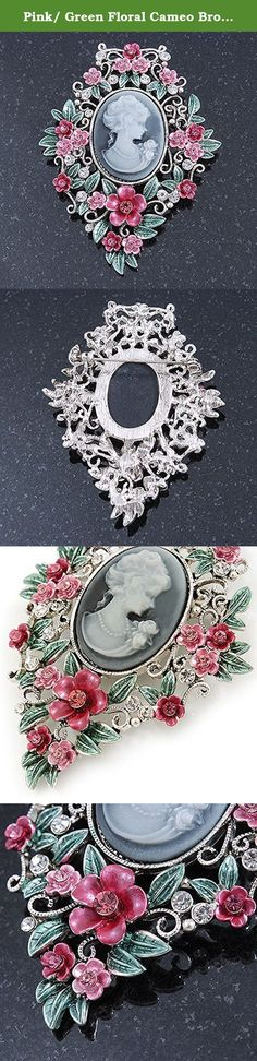Pink/ Green Floral Cameo Brooch In Silver Tone - 70mm L. For a classic cameo lover, this Pink/ Green Floral Cameo Brooch In Silver Tone is the ticket. The brooch crafted in silver tone metal and garnished with crystal floral detailing in hues of pink and green. The brooch measures about 70mm x 55mm and fastens securely with a metal pin clasp. Cameo jewellery is truly classic and timeless in its appeal, so this stunning pin will make a great gift or give-a-way for Mothers Day.