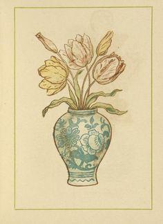 Marigold Garden 1900 Vase of tulips Canvas Art - Kate Greenaway x Vintage Stamps, Vintage Postcards, Magazine Illustration, Illustration Art, Book Illustrations, Japanese Illustration, Royal College Of Art, London Art, Antique Books