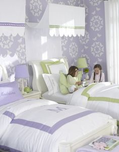 Soft shades of purple and green are ideal when combined with white in this Pottery Barn Kids room. The personalized touches on the bedding makes this a dream shared bedroom for girls of all ages. Discover more kids room decorating and organizing tips and ideas @ http://kidsroomdecorating.net
