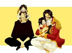 Luffy, Dragon, Ace, Roger, father, son, funny, young, D family, childhood; One Piece