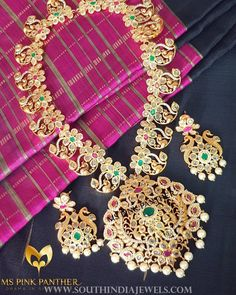 Gold Plated Peacock Necklace Set From Ms Pink Panther ~ South India Jewels Real Gold Jewelry, Wholesale Silver Jewelry, Royal Jewelry, Gold Jewellery, Beaded Jewelry, Jewelry Necklaces, Indian Jewellery Online, Indian Jewelry, Peacock Necklace