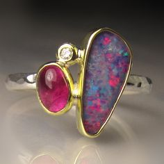 Opal Ring Opal and Pink Tourmaline Ring Boulder by JanishJewels