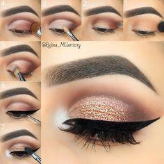 "14.4k Likes, 90 Comments -  R U B I N A  (@rubina_muartistry) on Instagram: ""Step by step tutorial   EYESHADOWS: @shopvioletvossHG Eye Shadow Palette 1) Sigma E40 brush,…"""