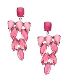 Silver and Pink Stone Cluster Earrings - I have a thing for lovely drop earrings