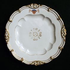 President James K. Polk in 1846 received this impressive china service of 36 pieces manufactured by Edouard D. Honore of Champroux FRA. Corcoran supervised the furnishings of the White House, which included the new official state dinner service. James K Polk, Presidential History, Lenox China, Dinner Plates, Dessert Plates, Ribbon Banner, Historical Artifacts, American Presidents, Antique China