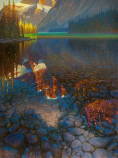 "'Cavell Lake Evening' 48"" x 36"" Oil on Canvas by Brent Lynch"