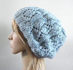 Lacy beret slouchy hat hand knit silk angora in light by baboom (Accessories, Hat, Knit, tam, beret slouch warm, slouchy winter, handknitted hat, autumn fall hat, hand knit beret, light blue slouch, icy blue knit beret, silk angora beret, luxury knit beret, silk angora blue hat, light blue silk hat, light blue women hat)