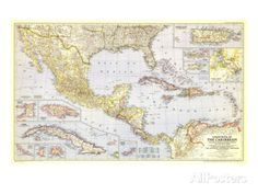 1947 Countries of the Caribbean Map Prints at AllPosters.com