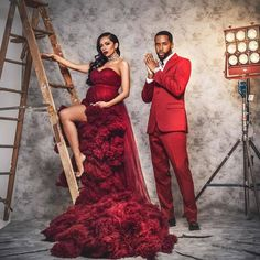 Red HOT maternity shoot for the gorgeous Erica Mena and Safaree 🔥❤