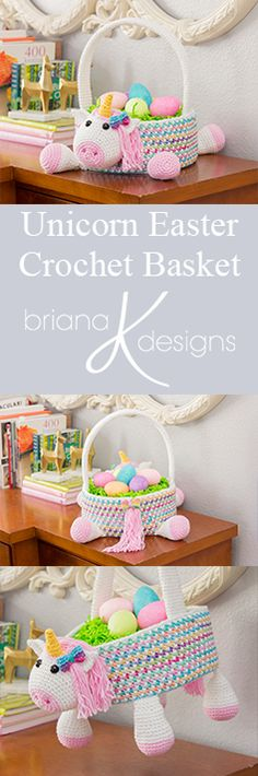 Unicorn Crochet Easter Basket Pattern by Briana K Designs. Perfect for an egg hunt! Sprinkles of rainbows :)