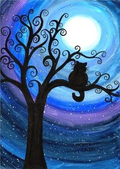 painting car spray paint Picture - More Detailed Picture about Needlework Diamond embroidery painting cat on the tree cross stitch scenic diy diamond painting kits children's birthday gifts Picture in Diamond Painting Cross Stitch from Yumeart Official St Watercolor Cat, Watercolour Painting, Cat Silhouette, Silhouette Painting, Silhouette Drawings, Art Plastique, Tree Art, Cat Art, Painting Inspiration