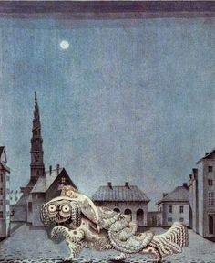 The Tinder Box: the dog ran with the princess on its back, by Hans Christian Andersen. Illus. by Kay Nielsen.