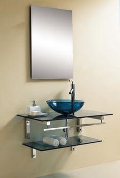 prateleiras e cuba de vidro para banheiro pequenos