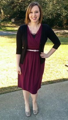 Burgundy dress & gold accents. Modern Modesty. Modest Outfit Ideas.