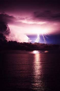 Image shared by Ana Paula Horta. Find images and videos about nature, sky and sea on We Heart It - the app to get lost in what you love. Fuerza Natural, Wild Weather, Purple Sky, Teal, Plum Purple, Turquoise, Lightning Strikes, Lightning Storms, Natural Phenomena