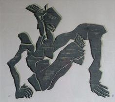 Klaus Maßem - Ohne Titel, 2000, Holzschnitt, 2 Farben, Motivgröße 64 x 60 cm - Jahresgabe 2000 des Kunstverein Trier Junge Kunst an seine Unterstützer