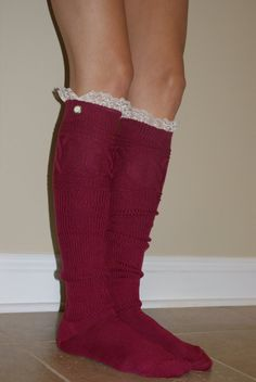 Raspberry Boot Socks with Lace by SimplySweetbySarah on Etsy