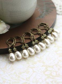 Set of Five Bridesmaids Earrings. Vintage Style