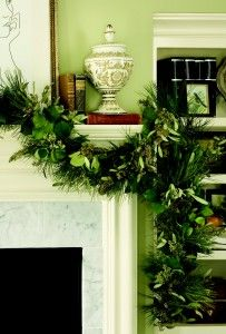 Just add fabulous greenery to your everyday mantle display; gorgeous
