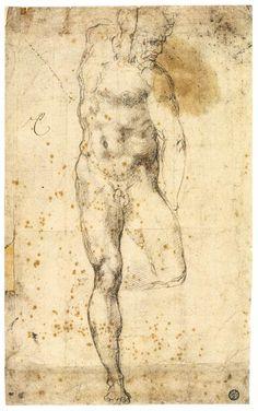 MICHELANGELO Buonarroti Study of a Standing Male Nude Figure (recto) 1520-21 Black chalk, 382 x 223 mm Musée du Louvre, Paris
