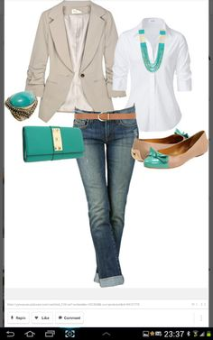 blue jeans, white dress shirt, tan jacket, turquiose accessories LOLO Moda: Elegant ladies fashion | See more about white dress shirts, tan jacket and dress shirts.