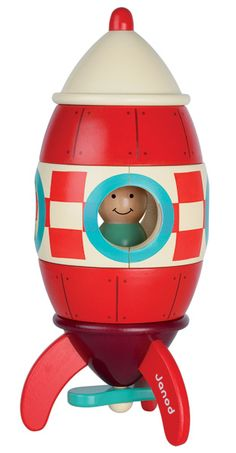Janod - Giant Magnetic Rocket Puzzle by Janod High quality wooden pieces clip together by embedded magnets inside. Your tot will love putting it together and taking it apart. Parents love bright colours that match any nursery decor.
