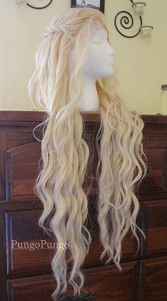 Daenerys Targaryen Wig - Season 4 Styled Platinum Blonde Khaleesi Lace Front Wig - Game of Thrones - Custom Costume Cosplay Pale White Blond...