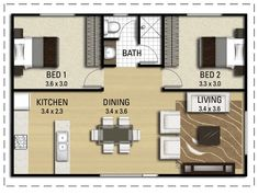 New ideas for house ideas small apartments floor plans Garage Floor Plans, House Floor Plans, The Plan, How To Plan, Granny Flat Plans, Casas Containers, Apartment Floor Plans, Small Apartment Plans, Flat Ideas
