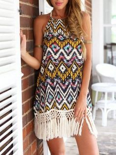 Shop Multi Geometric Halter Shift Tassels Dress from choies.com .Free shipping Worldwide.$16.9