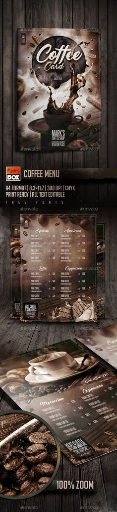 Coffee Menu — Photoshop PSD #bakery #coffee card • Download ➝ https://graphicriver.net/item/coffee-menu/18778984?ref=pxcr