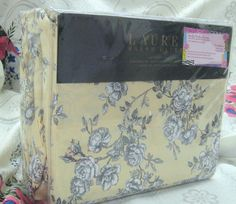 RALPH LAUREN 4PC KING Sheet Set - BLACK ROSES - SOFT 100% COTTON