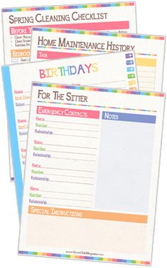Home Organization Planner includes home maintenance history, birthday plans, kitchen tips, spring cleaning checklist, monthly calendars, and so much more.