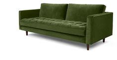Scott 3-Sitzer-Sofa, grasgrüner Baumwollsamt | made.com