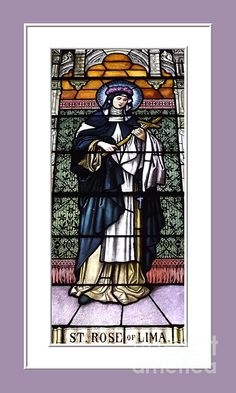 """$4.30 :  Saint Rose Of Lima Stained Glass Window  A photograph I took of a beautiful 150+ year old stained glass window of Saint Rose of Lima at Saints Peter and Paul Roman Catholic Church in Hamburg, New York. These lovely windows are now considered to be in the """"public domain"""". The """"Fine Art America"""" watermark (in the lower right corner) will NOT be on your purchased product. #Saints #Catholic #Christian #Anne #religious #photography #art"""
