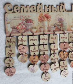 Купить Семейный календарь в пастельных тонах - календарь ручной работы, подарок на свадьбу, подарок мужчине