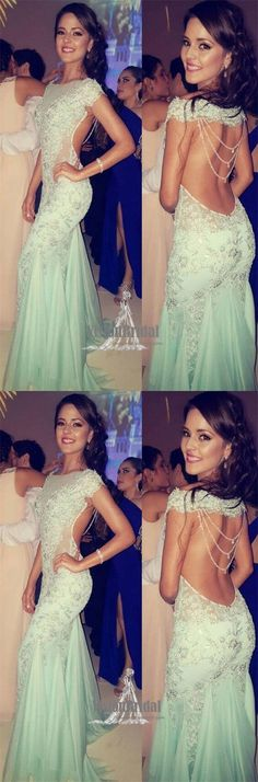 Unique Mint Green Open Back With Sequin Floor Length Prom Dress, Sexy Mermaid Long Prom Dress, VB0551 #promdress #promdresses