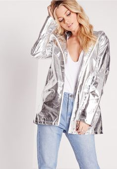 metallic rain mac silver