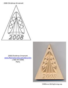 chip carved Christmas ornament