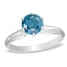 1 CT. Enhanced Blue Diamond Solitaire Engagement Ring in 14K White Gold