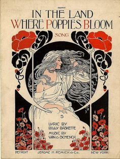 In the Land Where Poppies Bloom...vintage Art Nouveau sheet music cover art